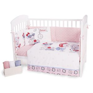 Lenjerie patut cu 6 piese si protectii laterale complete Pink Station 70x140 cm