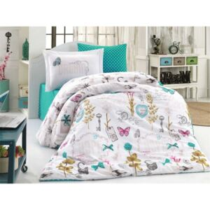 Lenjerie pat 1 persoană bumbac 100% poplin, Hobby Home, Rossella - Turquoise