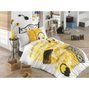 Lenjerie pat 1 persoană bumbac 100% poplin, Hobby Home, Live Music - Yellow