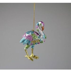 Decoratiune FLAMINGO - Gold/Albastru