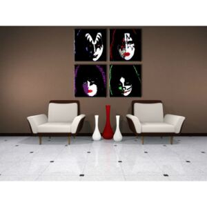 Tablou pictat manual POP Art Kiss 4-piese 100x100cm (tablouri)