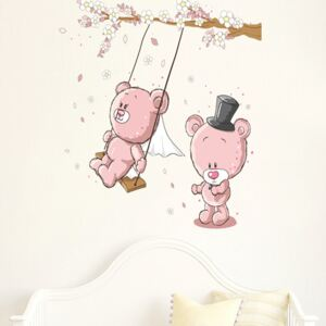 Sticker perete Pink bear swing