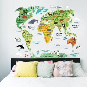 Sticker perete World Map animals
