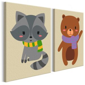 Bimago Pictura pe numere - Raccoon & Bear