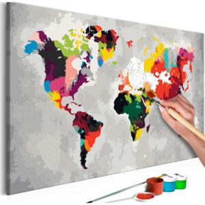 Bimago Pictura pe numere - World Map (Bright Colours) 60x40 cm