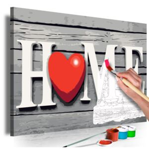 Bimago Pictura pe numere - Home with Red Heart