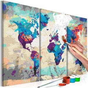 Pictura pe numere - World Map (Blue & Red) 3 Parts 60x40 cm
