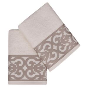 Set Prosoape De Maini Soft Kiss Monaco Cream Brown, 100% bumbac, 2 bucati, crem, maro, 50x90 cm