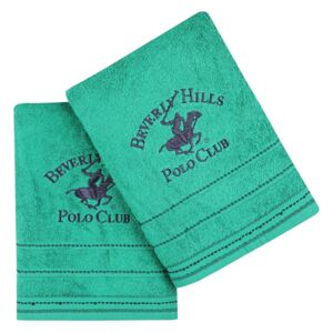 Set Prosoape De Baie Beverly Hills Polo Club Green, 100% bumbac, 2 bucati, verde, 70x140 cm