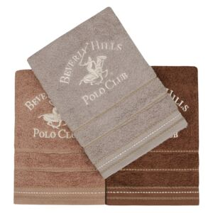 Set Prosoape De Maini Beverly Hills Polo Club Brown, 100% bumbac, 3 bucati, maro, 50x90 cm