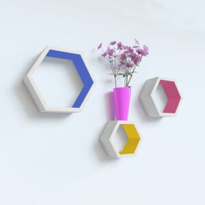 Set 3 rafturi perete Hexagon, MDF