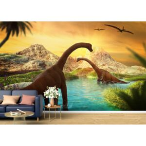 Tapet Premium Canvas - Dinozaurii in lac abstract
