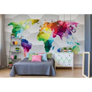 Fototapet GLIX - 3D Colourful World Map + adeziv GRATUIT Papírová tapeta - 368x280 cm