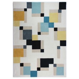 Covor Modern & Geometric Abstract Blocks, Lana, Albastru/Galben, 80x150