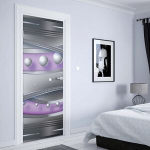 GLIX Tapet netesute pe usă - Modern 3D Design Silver And Purple
