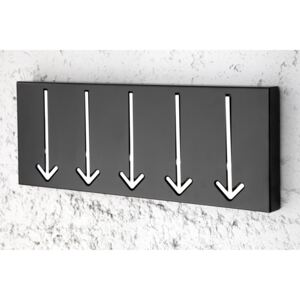 Cuier de perete Wall Mounted Wardrobe Arrow 5er Black | INVICTA INTERIOR
