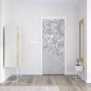 GLIX Tapet netesute pe usă - 3D Ornamental Pattern White And Grey