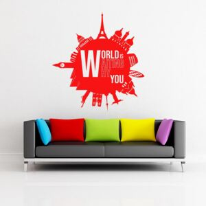 GLIX World is waiting why you - autocolant de perete Rosu 55x60 cm