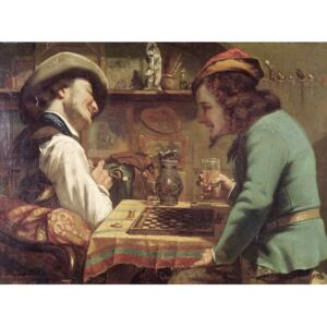The Game of Draughts, 1844 Reproducere, Gustave Courbet