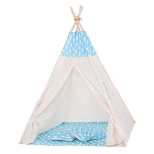 Cort copii stil indian Teepee Springos Blue Clouds XXL