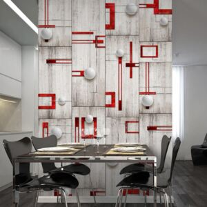 Fototapet - Concrete, red frames and white knobs