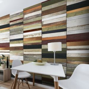 Fototapet - Rainbow-colored wood tones
