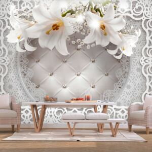 Fototapet - Lilies and Quilted Background