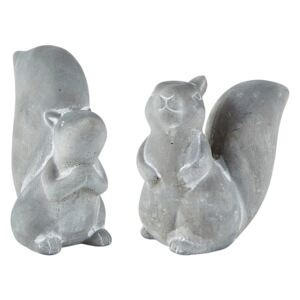 Set 2 figurine decorative de Crăciun KJ Collection Squirrel, gri