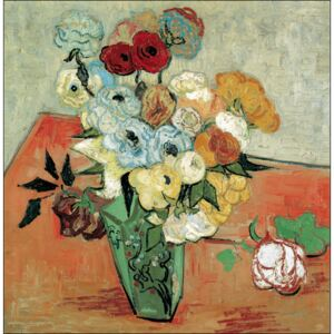 Still Life: Japanese Vase with Roses and Anemones, 1890 Reproducere, Vincent van Gogh, (30 x 24 cm)