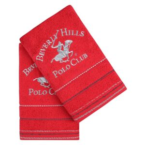 Set Prosoape De Maini Beverly Hills Polo Club Red Stripes, 100% bumbac, 2 bucati, rosu, 50x90 cm