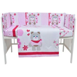 Lenjerie patut cu 5 piese Pink Bear with flowers