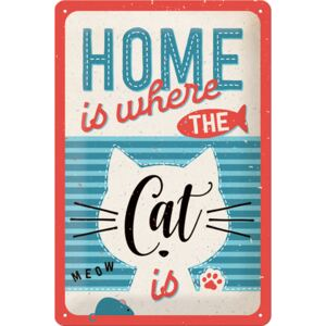 Placă metalică: Home is where the Cat is - 30x20 cm