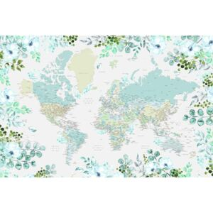 Ilustrare Floral bohemian world map with cities, Marie, Blursbyai