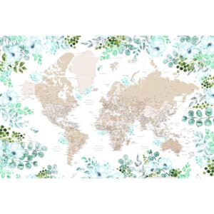Ilustrare Floral bohemian world map with cities, Leanne, Blursbyai