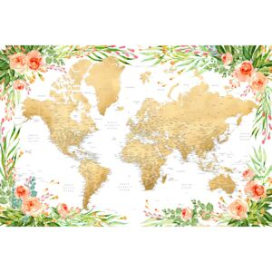 Ilustrare Floral bohemian world map with cities, Blythe, Blursbyai