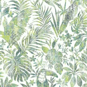 DUTCH WALLCOVERINGS Tapet model frunze și pasărea tucan, verde L685-04