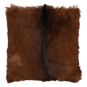 Perna decorativa patrata maro din blana si poliester 40x40 cm Goat Fur LifeStyle Home Collection