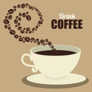 Sticker decorativ bucatarie - Drink coffee - Fundal Bej - 60x60 cm