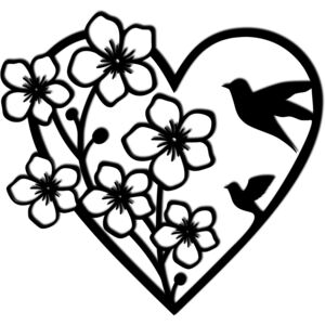 Decoratiune perete - heart with flowers and birds