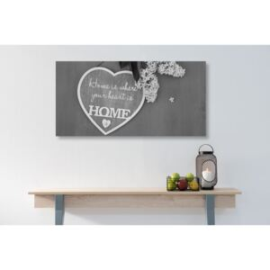 Tablou cu citat în design alb-negru - Home is where your heart is