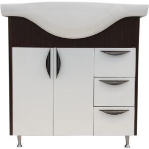 Mobilier baie baza si lavoar Serenity, alb/wenge, MDF/ PAL, 80 cm