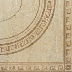Gresie decor portelanata bej Travertine, 45 x 45 cm, set 2 buc