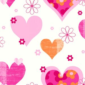 Arthouse Tapet - Happy Hearts Happy Hearts Pink/Orange