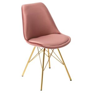 Scaun rose din catifea cu picioare metalice Scandinavia Chair Retro Old Rose Gold | INVICTA INTERIOR