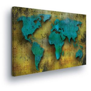 GLIX Tablou - Turquoise Map of the World 100x75 cm