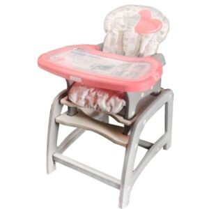 Scaun inalt multifunctional 2in1-Baby Mix - Design cu inimioare #roz