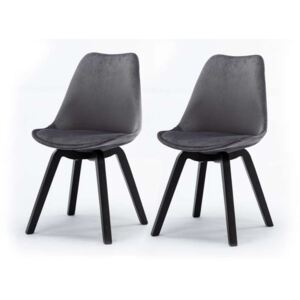 Set de 2 scaune design retro Paris, catifea, gri