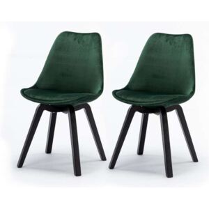 Set de 2 scaune design retro Paris, catifea, verde