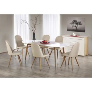Masa ovala living Edward, alb cu honey oak, structura din MDF si metal, 120/200x100x75 cm L1/L2xlxh
