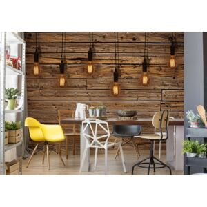 Fototapet GLIX - Industrial Chic Retro Light Bulbs Wood + adeziv GRATUIT Tapet nețesute - 250x104 cm